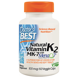 Doctors Best MK-7 featuring MenaQ7 - Vitamin K2 - 60 x 100mcg Vegicaps