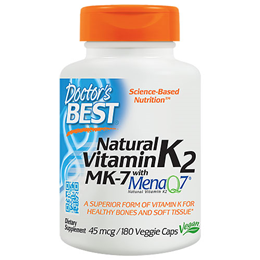 Doctors Best Natural Vitamin K2 - MenaQ7 - 180 x 45mcg Vegicaps