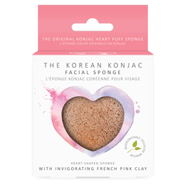The Konjac Sponge Co Heart Face Sponge - Rich Pink Clay