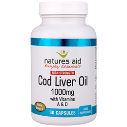 Natures Aid Cod Liver Oil - Omega 3 - 90 x 1000mg Capsules