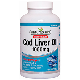 Natures Aid Cod Liver Oil - Omega 3 - 180 x 1000mg Softgels