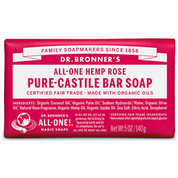 Dr Bronner`s Rose Castile Soap Bar - 140g