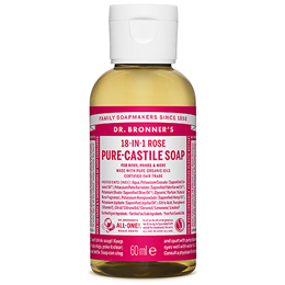 Dr Bronner`s 18-in-1 Organic Hemp Rose Castile Liquid Soap - 60ml
