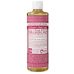 Dr Bronner`s 18-in-1 Organic Rose Castile Liquid Soap 237ml