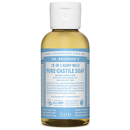 Dr Bronner`s 18-in-1 Baby-Mild Unscented Castile Liquid Soap - 60ml