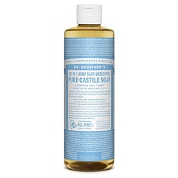 Dr Bronner`s 18-in-1 Baby-Mild Unscented Castile Liquid Soap - 473ml