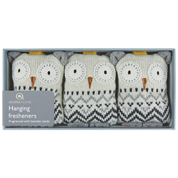 Aroma Home Sparkly Knitted Snow Owl Hanging Fresheners