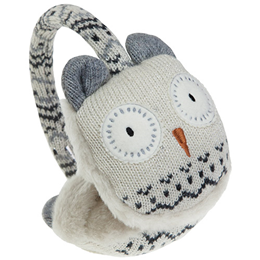 Aroma Home Sparkly Knitted Snow Owl Ear Muffs with Heat Pads