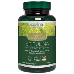 Natures Aid Organic Spirulina Superfood Powder - 150g