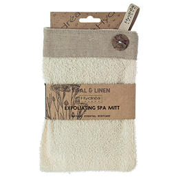 Hydrea London Sisal and Linen Exfoliating Button Mitt