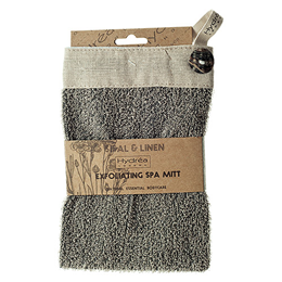 Hydrea London Charcoal Sisal and Linen Button Mitt
