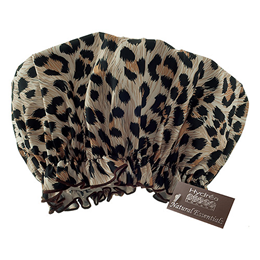 Hydrea London Eco-friendly PEVA Shower Cap - Leopard Print Design