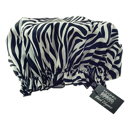 Hydrea London Eco-friendly PEVA Shower Cap - Zebra Print Design