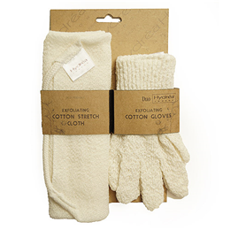 Hydrea London Exfoliating Stretch Cloth and Gloves Duo Set
