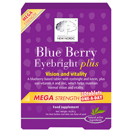 New Nordic Blue Berry Mega Strength One-A-Day - 30 Tablets - Best before date is 30th April 2017