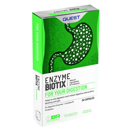 Quest Enzyme Biotix - 6 Digestive Enzymes & Probiotics - 30 Capsules - Best before date is 31st July 2019