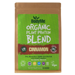 BodyMe Organic Vegan Protein Powder Blend - Raw Cinnamon - 1kg