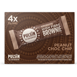 Pulsin Peanut Choc Chip Raw Choc Brownie Multipack - 3 x 35g