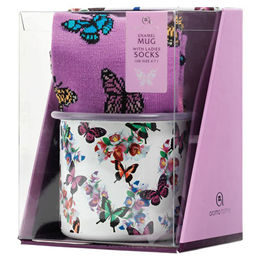 Aroma Home Enamel Mug & Ladies Socks - Butterfly