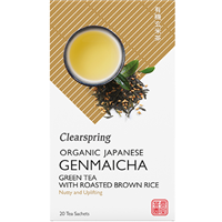 Clearspring Organic Japanese Genmaicha Green Tea with Roasted Brown Rice - 20 Tea Sachets