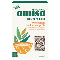 Amisa Organic Buckwheat Puffs - Agave Nectar - 225g - Best before date is 31st May 2018