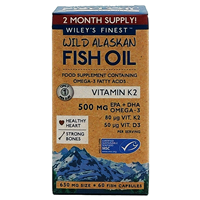 Wiley`s Finest Wild Alaskan Fish Oil Vitamin K2 - 60 Softgels