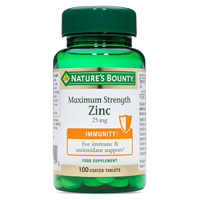 Nature`s Bounty Max Strength Zinc - 100 x 25mg Tablets