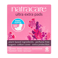 Natracare Ultra Extra Pads With Wings - Super - 10 Pack