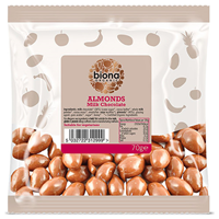 Biona Organic Milk Chocolate Covered Almonds - 70g