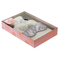 Aroma Home Faux Fur Hot Water Bottle & Satin Eye Mask - Cream
