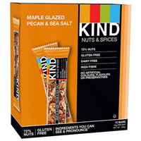 KIND Maple Glazed Pecan & Sea Salt Snack Bars - 12 x 40g - Best before date is 8th May 2020
