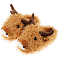 Aroma Home Fuzzy Friend Slippers - Highland Cow