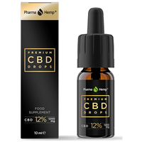 PharmaHemp Premium Black CBD Drops 12% - 10ml