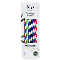 The Cheeky Panda Bamboo Paper Straw 100pcs Multicoloured