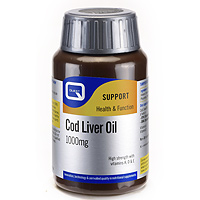 Cod Liver Oil 1000mg Omega 3 Fatty Acids - 30 Capsules