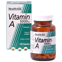 HealthAid Vitamin A 5000iu - One A Day - 100 Capsules