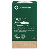 One Nutrition Organic Spirulina - 100 x 500mg Capsules - Best before date is 27th January 2019