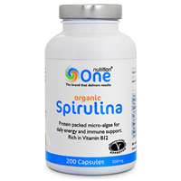 One Nutrition Organic Spirulina - 200 x 500mg Capsules