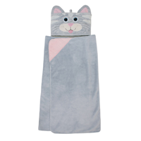 Aroma Home Hooded Blankets for Kids - Grey Cat