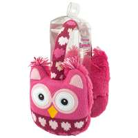 Aroma Home Knitted Pink Owl Ear Muffs with Heat Pads