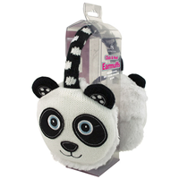 Aroma Home Knitted Panda Ear Muffs with Heat Pads