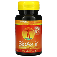 Nutrex BioAstin Vegan Hawaiian Astaxanthin - 75 x 12mg Softgels