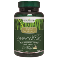 Natures Aid Organic Wheatgrass Superfood Powder - 100g - Best before date is 31st October 2018