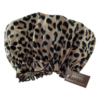 Eco-friendly PEVA Shower Cap - Leopard Print Design