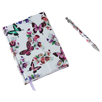 Aroma Home Butterfly Notebook & Pen - Ruled