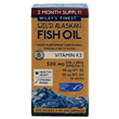 Wiley`s Finest Wild Alaskan Fish Oil Vitamin K2 - 60 Capsules - Best before date is 30th November 2020