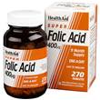HealthAid Super Folic Acid - 270 x 400mcg Vegan Tablets