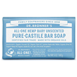 Dr Bronner`s Mild Unscented Castile Soap Bar - 140g